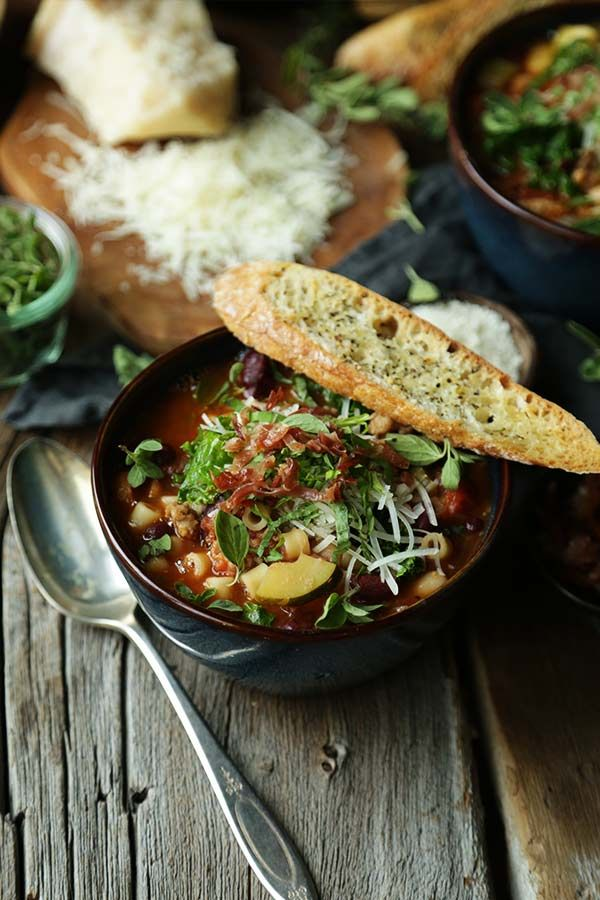 Warm up with a delicious bowl of this Italian Vegetable Minestrone Recipe with herb crostini!