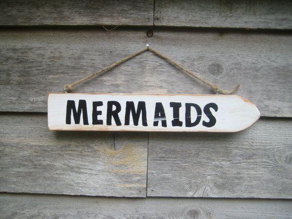 Mermaid Beach Sign Reclaim Wood Mermaid Rustic by BlackCrowCurios, $35.00