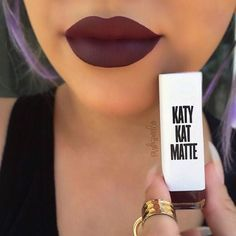 "Obsessed with this lippy @katyperry @covergirl New #katykatmatte #katyperry matte lipstick in the color "" #Maroon Meow "" ~ I've been passing these babies for awhile and finally decided to get one, the white packaging def caught my eye. The Formula is semi matte so it is somewhat transferable."