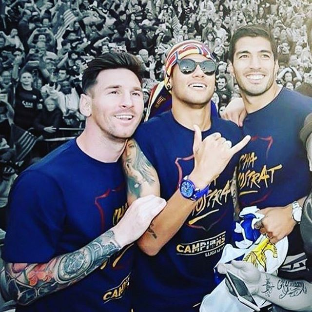 The Liga Parade with @neymarjr and GaGà Milano Crystal Blu watch !!! #GaGaMilano…