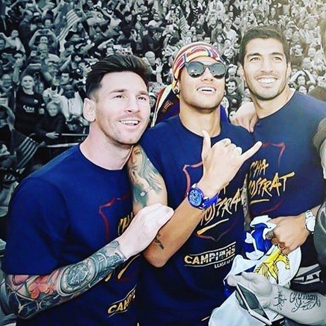 The Liga Parade with @neymarjr and GaGà Milano Crystal Blu watch !!! #GaGaMilano…