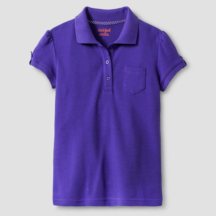 Girls' Interlock Polo Shirt - Cat & Jack, Girl's, Size: Medium, Concord Grape