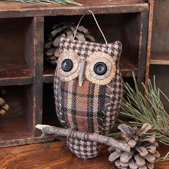 Primitive Owl Folk Art Ornie, Primitive Decor, Owl Decoration, Folk Art Ornament, Owl Ornie