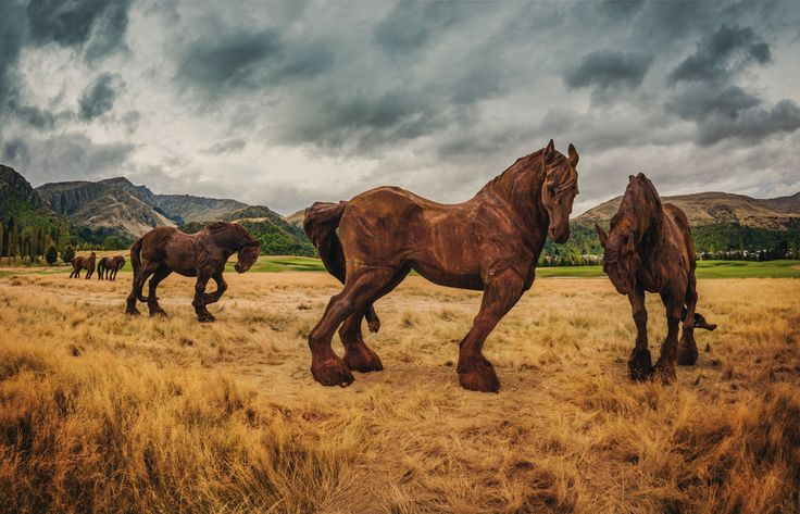 'The Frolic & The Fancy' over life size cast iron sculptures at 'The Hills' Queenstown New Zealand by Max Patte. Photograph by Trey Ratcliff.