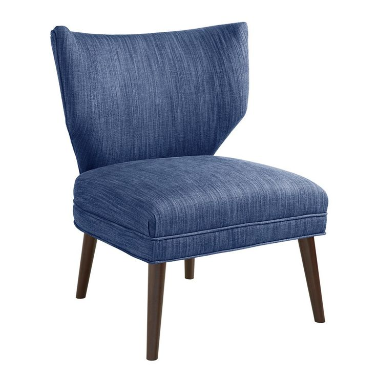 Mid-century flair meets transitional style in our armless wing chair featuring fine upholstery in a streamlined design. The modern silhouette is finished in denim blue with espresso brown turned birch