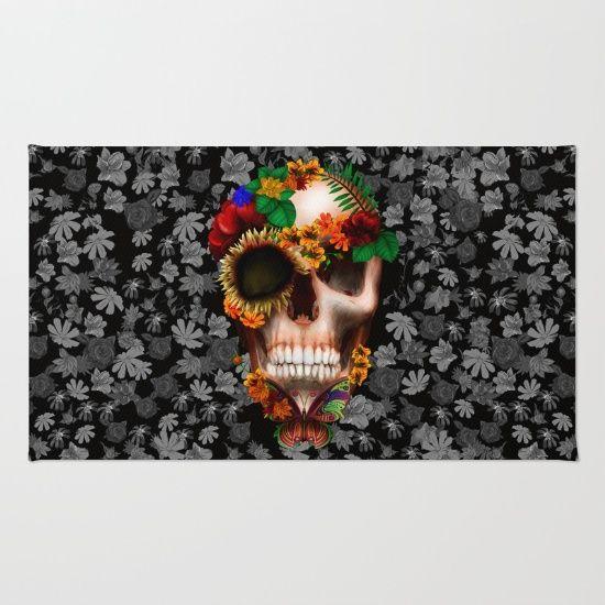 Halloween sugar skull with butterfly RUG #rug #daisy #roses #floral #flower #skull #skeleton #dayofthedead #diasdemuertos #jackskellingtons #halloween #scarythenight #beforechristmas #animal #bone #tattoo #hippie #hipster #aztec #maya #indian #feather