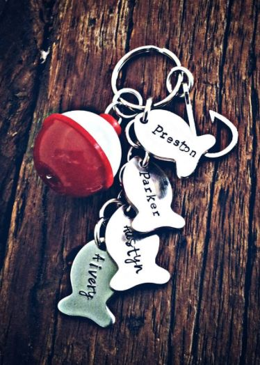 Christmas Stocking Stuffer Gifts for Men & Guys (like your boyfriend or husband):  Personalized Dad Custom Keychain with Fish Bobber and Hook by Precious Pods By Sarah O @ Etsy