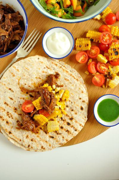 Spicy ginger ale pulled pork tacos