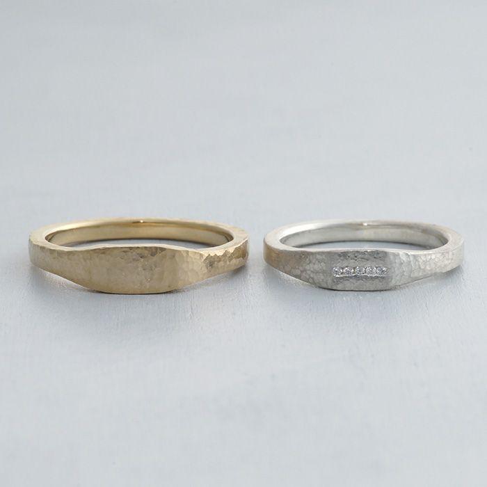 ithマリッジリング:Campana(カンパーナ)小さな槌目のついた色違いの結婚指輪 K18 Gold Pt900 diamond ダイヤモンド marriage ウエディング Wedding