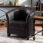 Anderson Transitional Dark Brown Faux Leather Upholstered Accent Chair