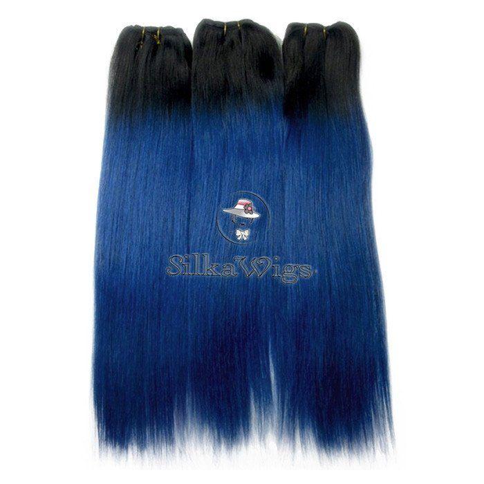 1B/Blue Ombre Straight Brazilian Virgin Hair Weave