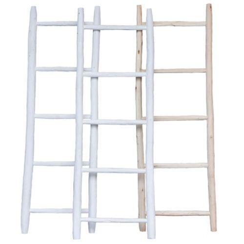 Decoratie ladder small-leuk met lichtsnoer er over en kleine plantjes er aan