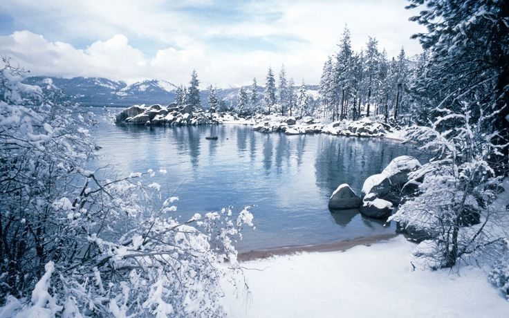 There's nothing like looking out over Lake Tahoe in Nevada, as the icy trees are reflected in the freezing cold water. Bring your camera and your skis.