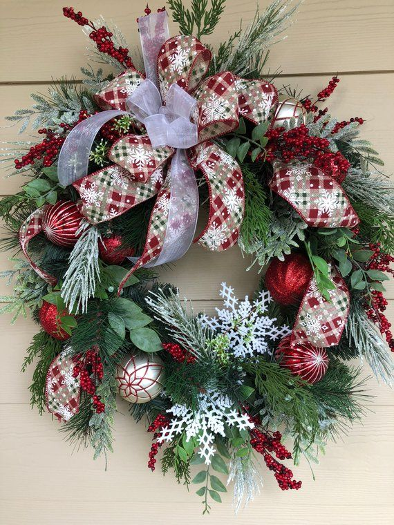 Christmas Wreath Front Door Holiday Frosty
