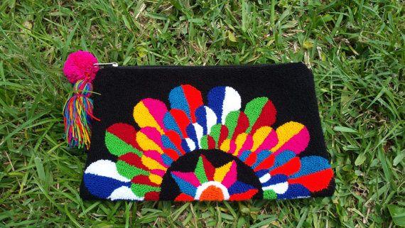 Wayuu Clutch Handmade MULTICOLOR FLOWER by AFPrincess on Etsy