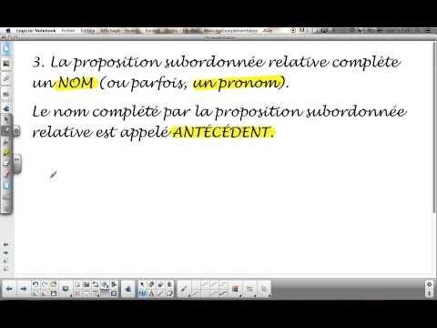 La phrase complexe (subordination) : La Proposition subordonnée relative