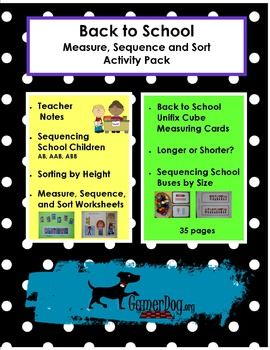 BACK TO SCHOOL  Measure, Sequence and Sort Activity PackAfter a long summer break, the Back to School Math Pack is designed to encourage students to refresh their math skills and jump start their school year!  Interactive math games and printable worksheets provide opportunities to master math skills in the new academic year.  *********************************************************************This Unit Includes:**Sequencing School Children - 6 Sequencing Cards w/ 18 culturally diverse tile…