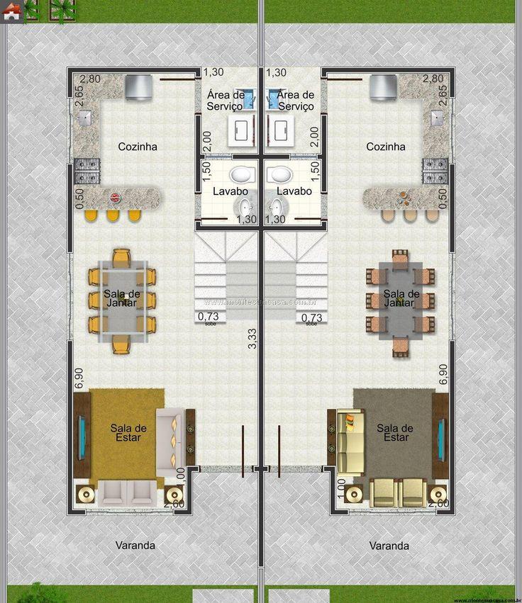 As 20 melhores ideias de plantas de casas estreitas no for Casa moderna 7x20