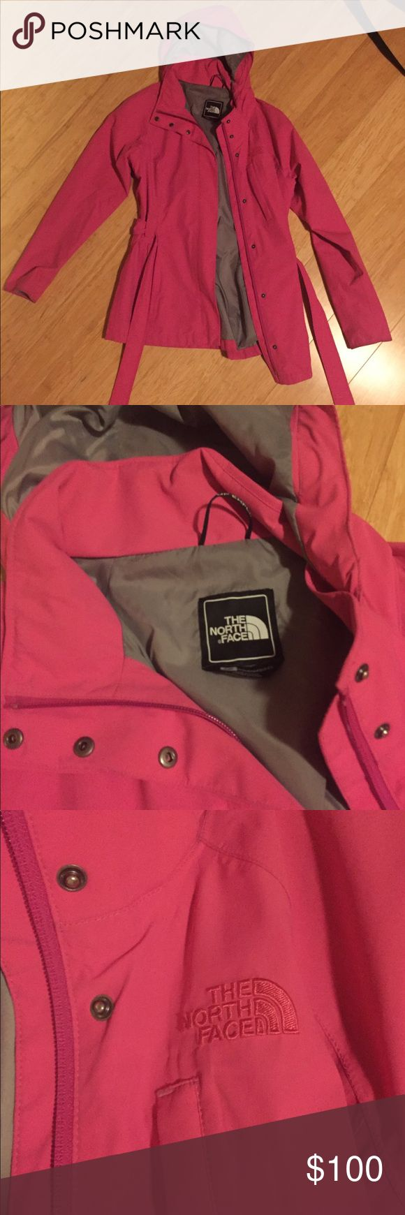 Pink Northface Rain Coat Trench style rain coat with sash. Lots of pockets for storage. Detachable hood. Waterproof. Superior quality. Lightly used but amazing condition. You will love it and you will stand out in a crowd! The North Face Jackets & Coats Trench Coats