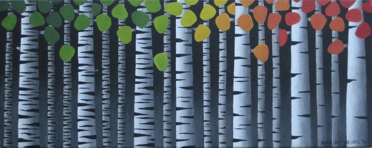 Birch in four seasons - acryl on canvas - 50x20 cm - Marike Meurs