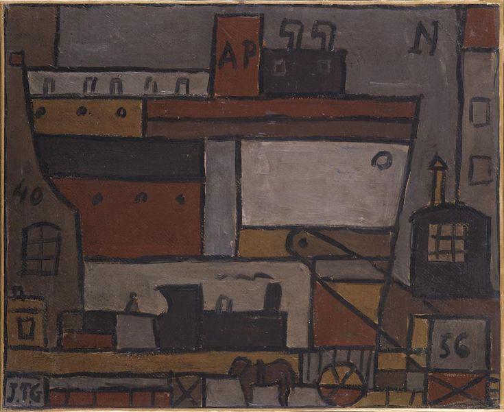 Barco y tren constructivos - Torres García, Joaquín. 1940. Óleo sobre papel adherido a lienzo. 46 x 56,2 cm