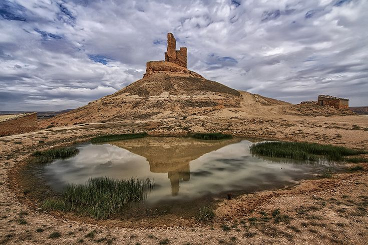 CASTLES OF SPAIN - Montuenga Castle in Soria, Spain forms part of the defensive line of the Jalón River set in a natural passage between the plateau and strategic basin of the Ebro River. The castle overlooks and so controlled access between Castile and Aragon. The area was subject to disputes, notable during the Castilian Civil War.