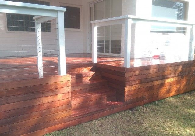 merbau Decking, Stairs, deck, timber stairs, carpentry, garden, home, house, balcony, handrail, diy, D.I.Y, stainless steel wire, stainless balustrade, wire balustrade, wire hand rail,