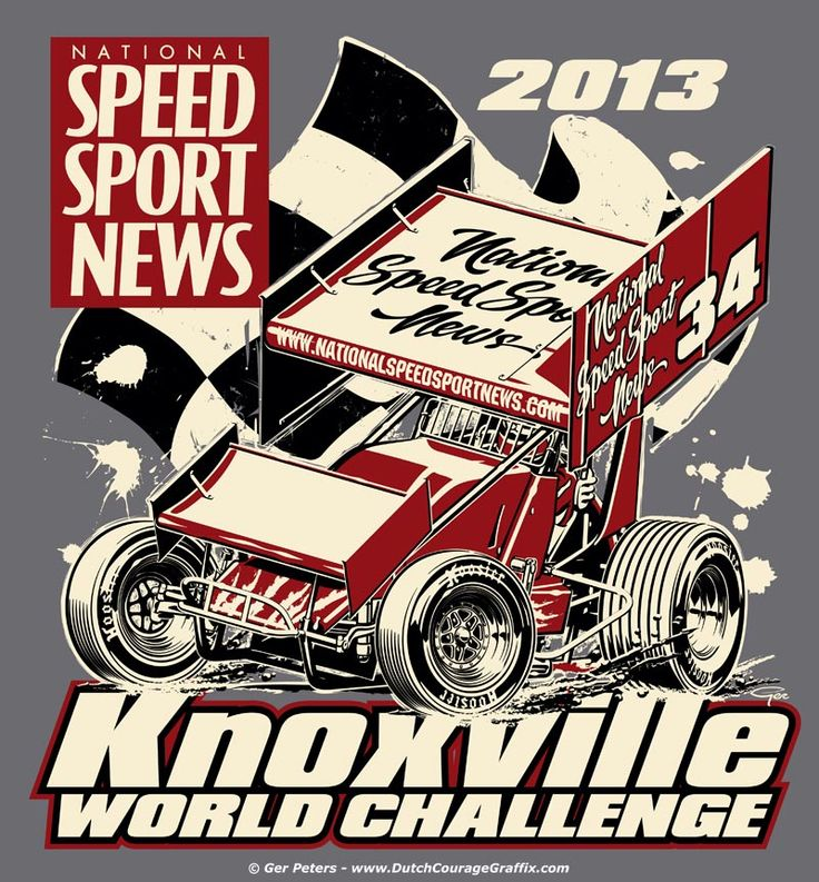 T-shirt artwork for the 2013 National Speed Sport News Knoxville World Challenge sprint car race #dirt #track #sprint #car #race #event #tshirt #artwork #Knoxville #world #challenge