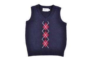 Chaleco tejido para bebe niño, en color azul oscuro y rombos rojos.