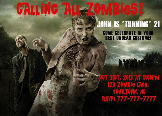 the walking dead invitation or thank you card for birthday halloween zombie party personalized - Zombie Halloween Invitations