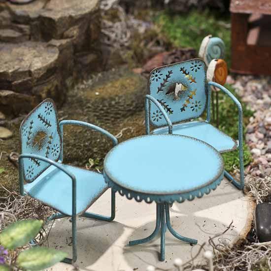 Miniature Rustic Blue Metal Bistro Set #fairygarden