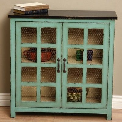 Sideboard Buffet Kitchen Storage Cabinet Table Rustic Distressed Gree