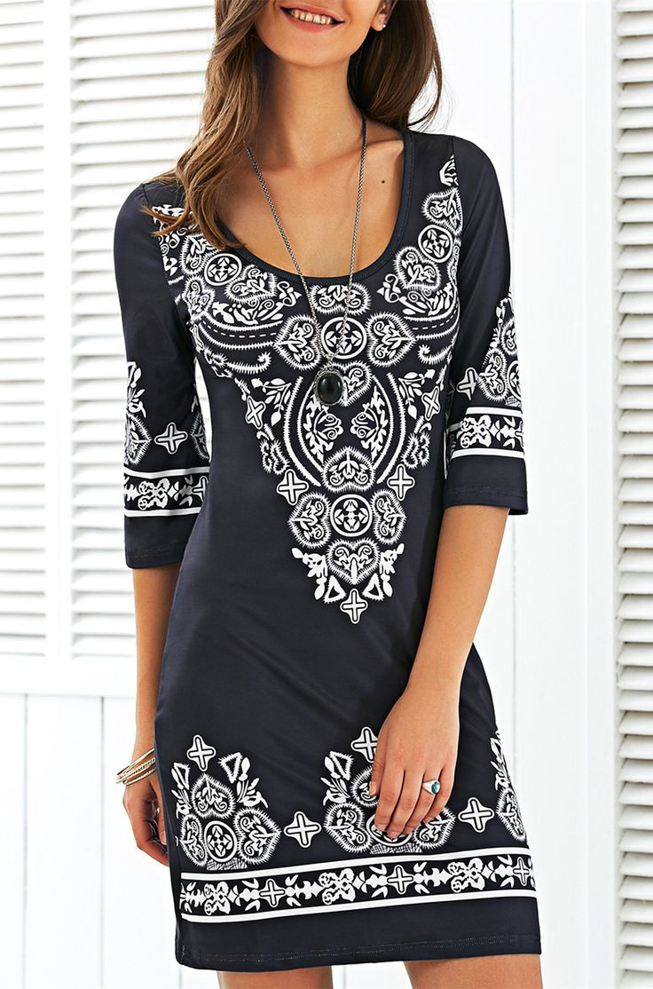 $14.51 Scoop Neck Mini Printed Dress