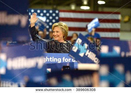 Saint Louis, MO, USA - March 12, 2016: Democratic presidential candidate and former Secretary of State Hillary Clinton campaigns at Nelson-Mulligan Carpenters Training Center in St. Louis.