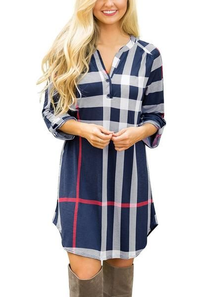 Be a sleek chic with this blue roll-up sleeves shift dress.