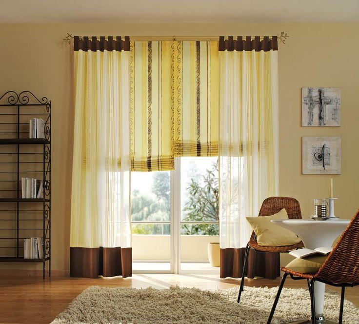 Современные шторы лимонного оттенка с коричневой отделкой