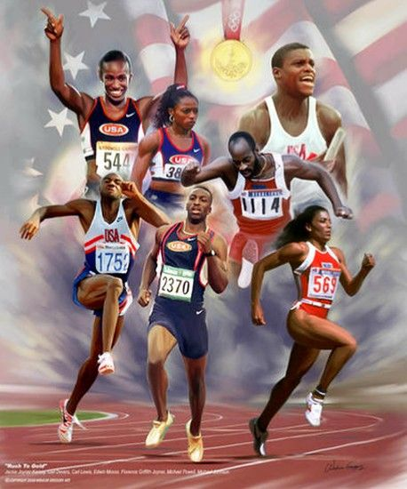 """Rush to Gold"" by Wishum Gregory is an African American Olympic art print featuring seven gold medal winning track and field athletes. Included are Jackie Joyner-Kersey, Gail Devers, Florence Griffith-Joyner, Carl Lewis, Edwin Moses, and Michael Johnson. True sports legends and icons."
