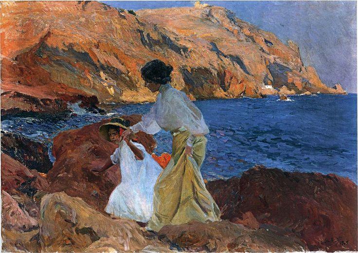 'Clotilde and Elena on the Rocks at Javea', Oil by Joaquin Sorolla Y Bastida (1863-1923, Spain)