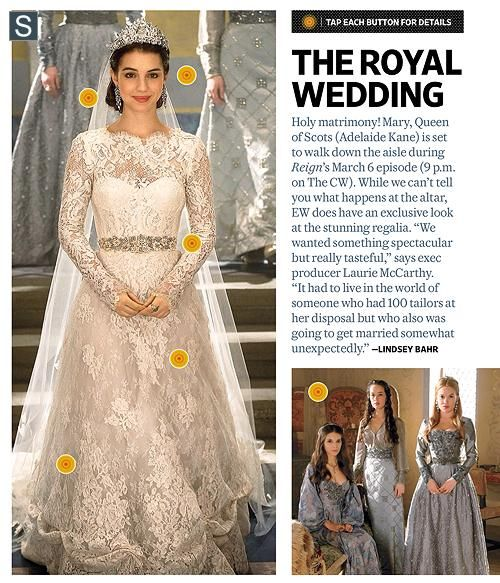 Mary Queen of Scotland's wedding dress in Reign! So unbelievably beautiful! Her dresses are so gorgeous!