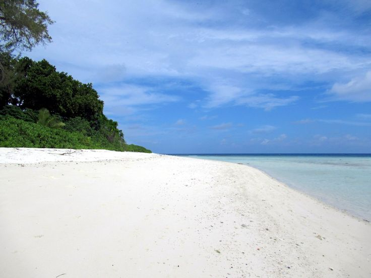 D'Arros Island in the Amirantes Group, 250 kilometers southwest of the main Seychelles Group, has a fine white beach along its north shore.