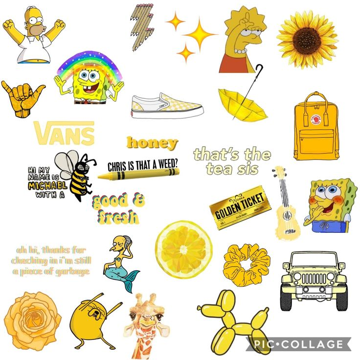 Yellow Aesthetic Sticker Collage Art In 2019 Stickers