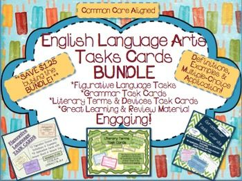 Bundle of English Language Arts Task Cards!  Figurative Language, Grammar & Literary Terms & Devices Task  Cards with Definitions, Examples and Multiple-Choice Application  **Save money by buying the bundle***  Figurative Language Task Cards:  *A set of 12 figurative language task cards (Simile, Metaphor, Alliteration, Personification, Onomatopoeia, Pun, Allusion, Idiom, Paradox, Oxymoron, Hyperbole, Cliche), which include the definition and example/s.  *Following, there are 18 ...