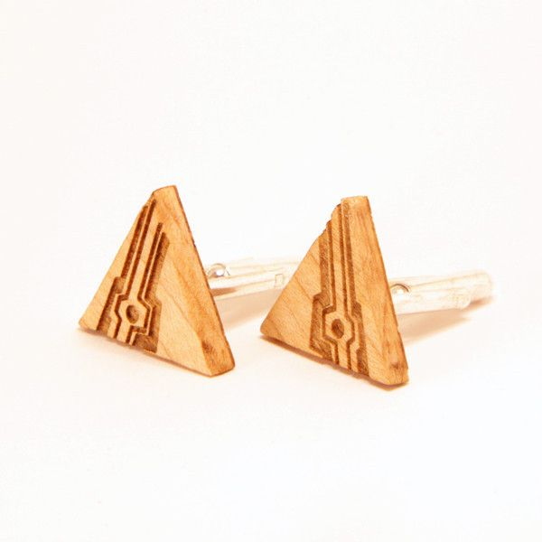 Triangle Circuit cufflinks are laser etched from maple or cherry.