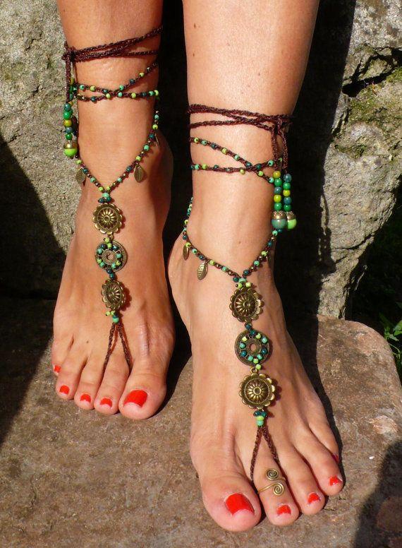 MANDALA de forêt sandales pieds nus pieds bijoux hippie sandales orteil bague bracelet perlé crochet nu-pieds sandales tribal yoga mariage