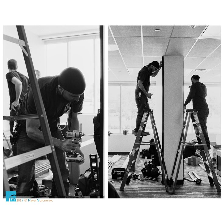 """Under Construction - Nikon F100 + 50mm, Ilford HP5 Plus B&W 400, ISO 320 Teknion Altos wall system installation by Choice Office Installation Inc. for Britacan  Feel free to visit and follow me on  * <a href=""""http://torontointeriors.photography/"""">torontointeriors.photography</a> * <a href=""""https://www.facebook.com/PavelVoronenkoPhotography"""">Facebook</a> * <a href=""""https://www.facebook.com/torontointeriorsphotography"""">T.I.F. on Facebook</a> * <a href=""""https://instagra"""