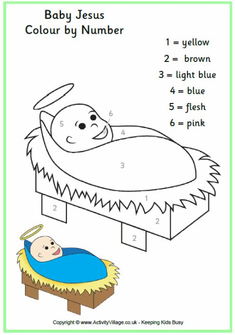 nativity colouring pages see more colour by numbers baby jesus printable