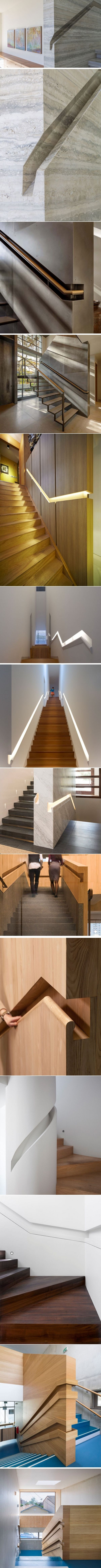Stair Design Idea – 9 Examples Of Built-In Handrails
