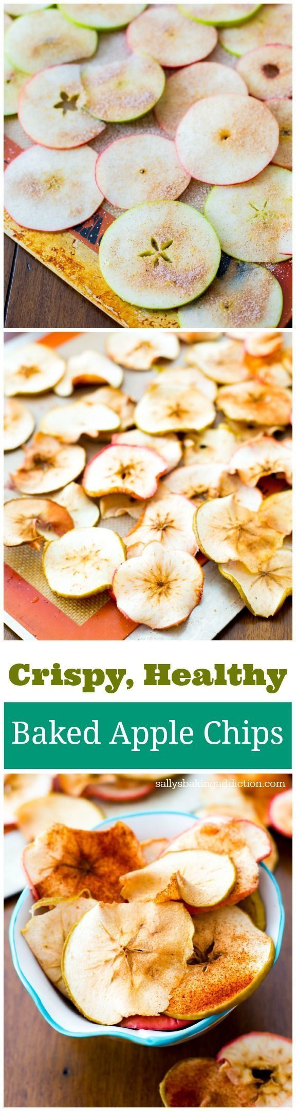Crunchy, simple, healthy Baked Apple Chips. These are so addicting and all you are eating is apples. /sallybakeblog/