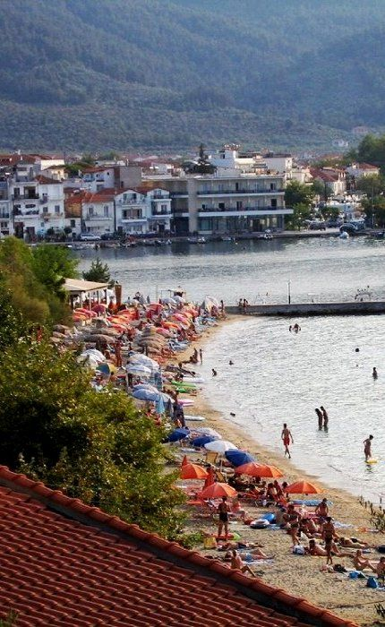 Beach near harbor - Limenas, Thassos Island, Greece