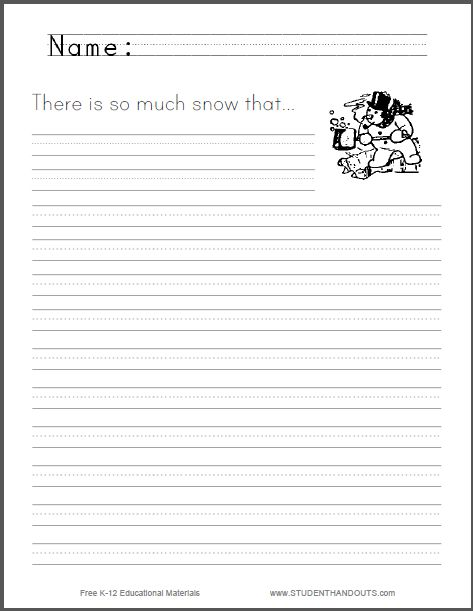 There is so much snow... Writing Prompt - Free to print (PDF ...